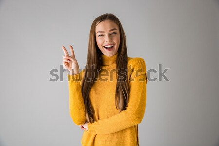 Portret slank tevreden vrouw meetlint Stockfoto © deandrobot