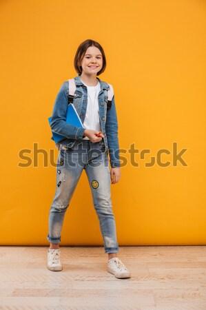 портрет счастливым мало школьница Сток-фото © deandrobot
