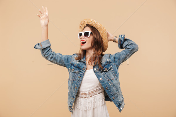 Portrait of a smiling young girl in summer clothes Stock photo © deandrobot