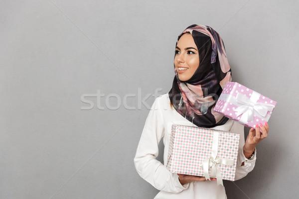 Portret wesoły młodych arabski portret kobiety kobieta Zdjęcia stock © deandrobot