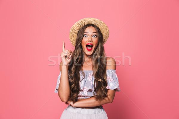 Porträt ziemlich Glamour Frau 20s tragen Stock foto © deandrobot