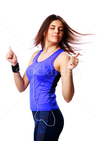 Zdjęcia stock: Młodych · taniec · sportu · kobieta · słuchanie · muzyki · odizolowany