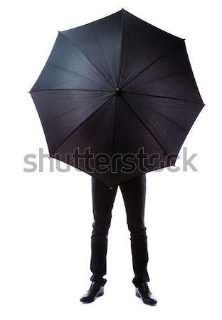 Iş adamı gizlenmiş şemsiye beyaz iş çalışmak Stok fotoğraf © deandrobot