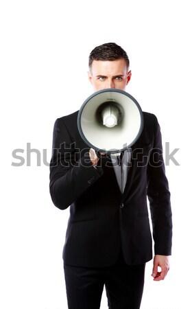 Bonito empresário megafone isolado branco mão Foto stock © deandrobot
