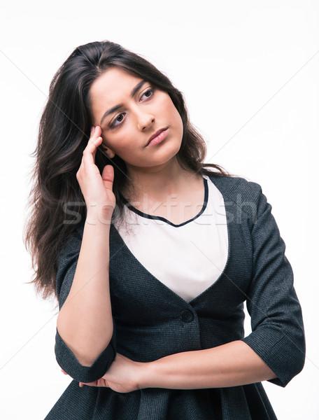 портрет задумчивый деловая женщина изолированный белый Сток-фото © deandrobot