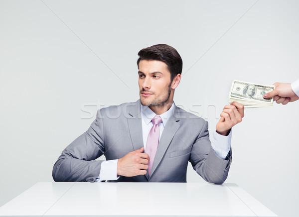 üzletember elvesz ül asztal szürke másfelé néz Stock fotó © deandrobot