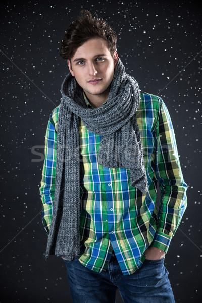 élégant jeune homme neige visage homme sport Photo stock © deandrobot