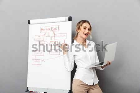 Gülümseyen kadın ekran gündelik gri Stok fotoğraf © deandrobot