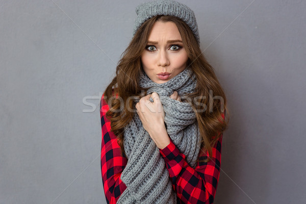Pretty woman with scarf and hat Stock photo © deandrobot