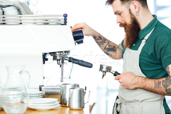 Barista café Homme affaires alimentaire Photo stock © deandrobot