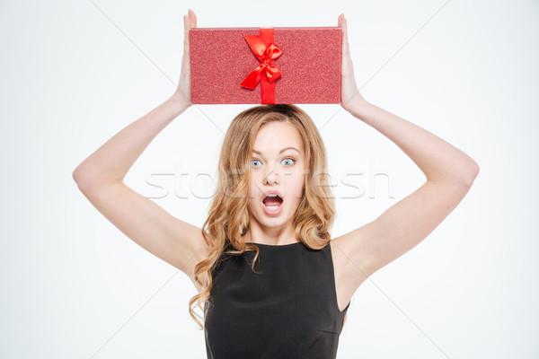 Amazed woman holding gift box  Stock photo © deandrobot