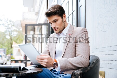 Man interacting with somebody in office Stock photo © deandrobot