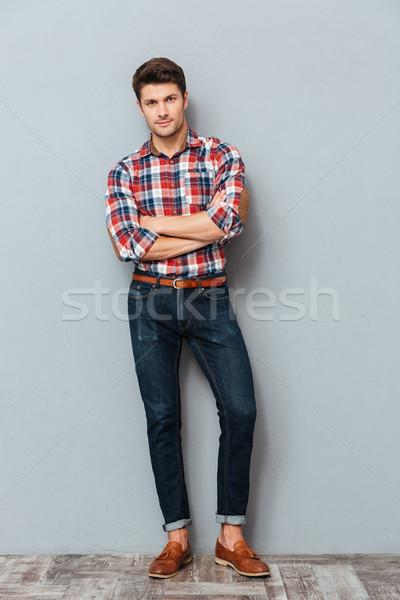 Portret gelukkig man armen gevouwen Stockfoto © deandrobot