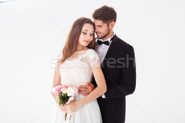 Beauty image of newlyweds Stock photo © deandrobot