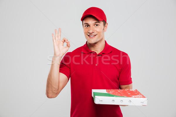 Frente vista pizza mensajero mirando Foto stock © deandrobot