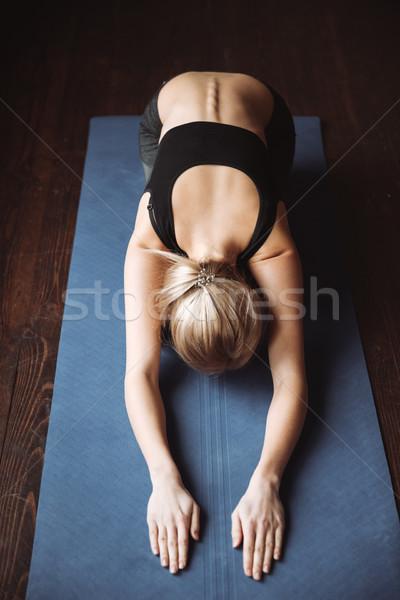 Stok fotoğraf: üst · görmek · güzel · genç · yoga