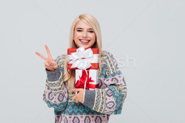 девушки свитер победу Сток-фото © deandrobot