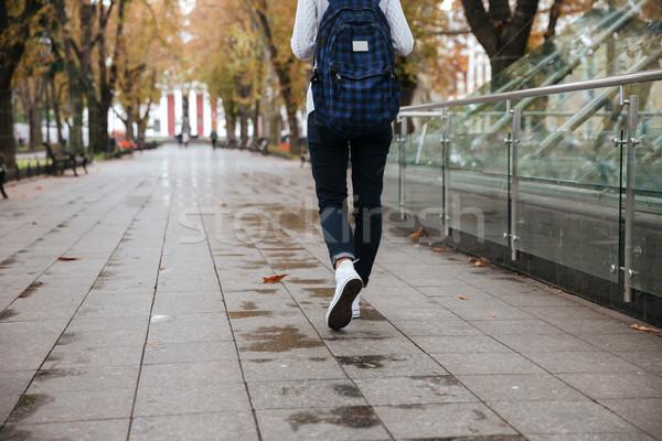 Ver de volta mulher mochila caminhada parque belo Foto stock © deandrobot