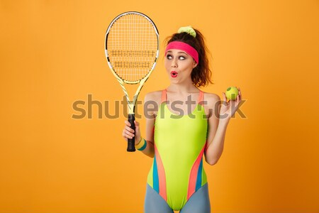 Vrolijk jonge fitness vrouw tennisracket bal Stockfoto © deandrobot