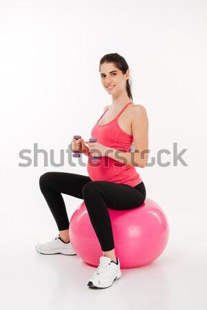 Embarazo ejercicio fitness pelota pesas Foto stock © deandrobot
