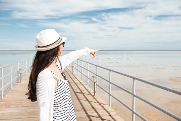 女性 立って 桟橋 ポインティング 海 背面図 ストックフォト © deandrobot