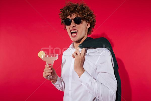 ハンサム 興奮した 男 白 シャツ ジャケット ストックフォト © deandrobot