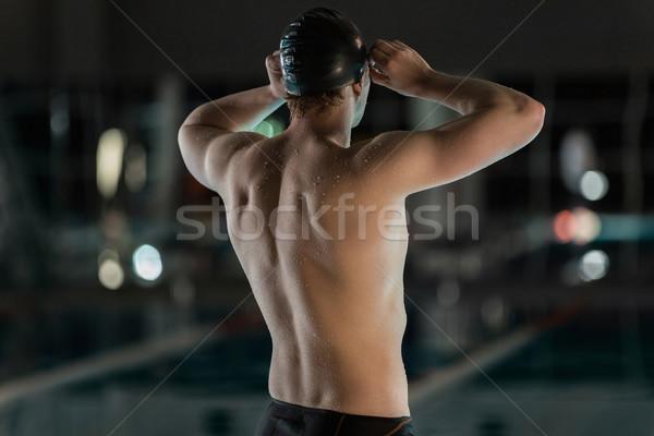 Widok z tyłu mężczyzna pływak pływanie okulary ochronne człowiek Zdjęcia stock © deandrobot
