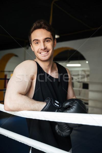 Adam boksör bakıyor kamera ayakta halka Stok fotoğraf © deandrobot