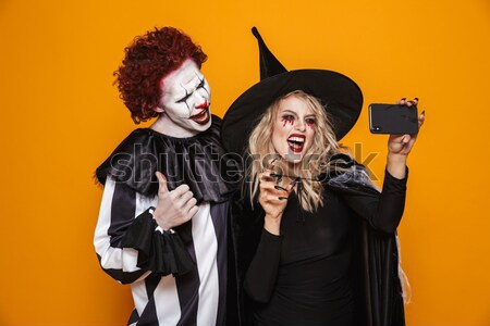 émotionnel jeunes femmes halloween costumes photos deux Photo stock © deandrobot