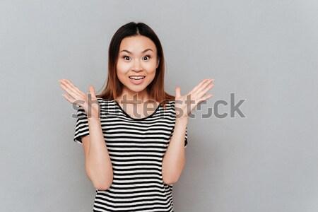 肖像 混乱 面白い 少女 肩 見える ストックフォト © deandrobot