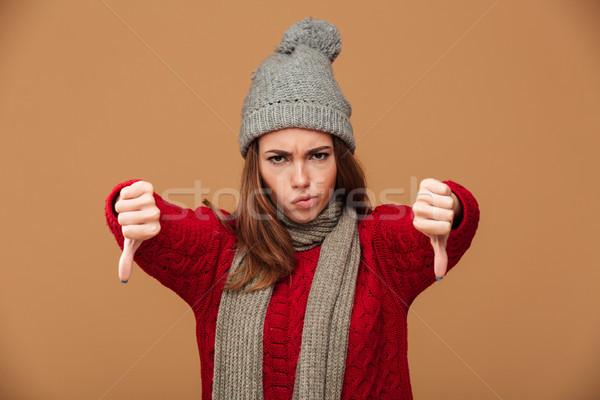 Primo piano ritratto infelice donna inverno Foto d'archivio © deandrobot