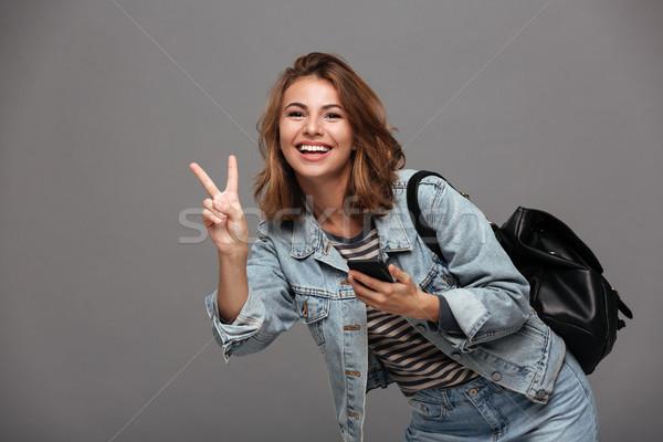 Portret szczęśliwy uśmiechnięty dziewczyna denim kurtka Zdjęcia stock © deandrobot