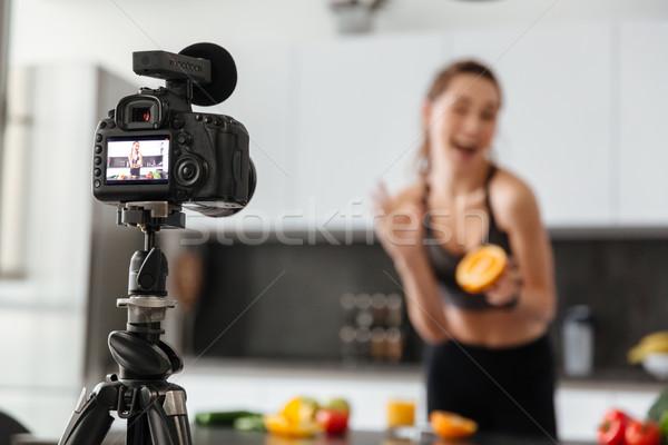 Közelkép kamera egészséges étel tutorial bent konyha Stock fotó © deandrobot