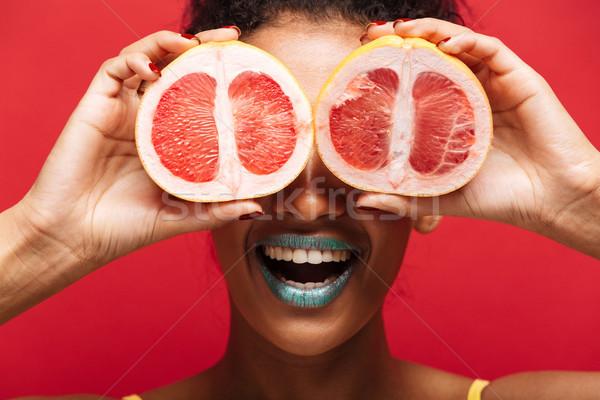 Voedsel afbeelding glimlachend afro amerikaanse Stockfoto © deandrobot
