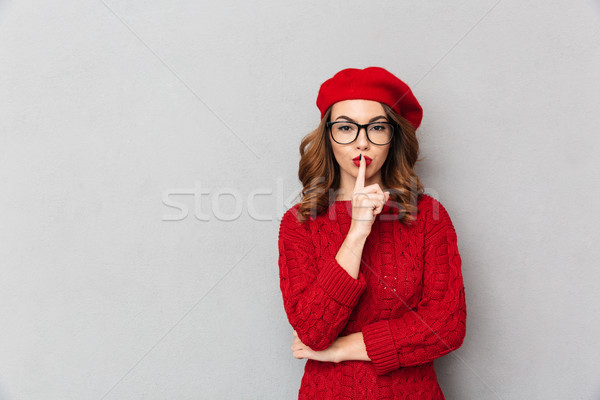 Portrait of a charming woman dressed in red sweater Stock photo © deandrobot