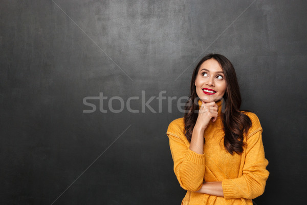 Pensive souriant brunette femme chandail Photo stock © deandrobot