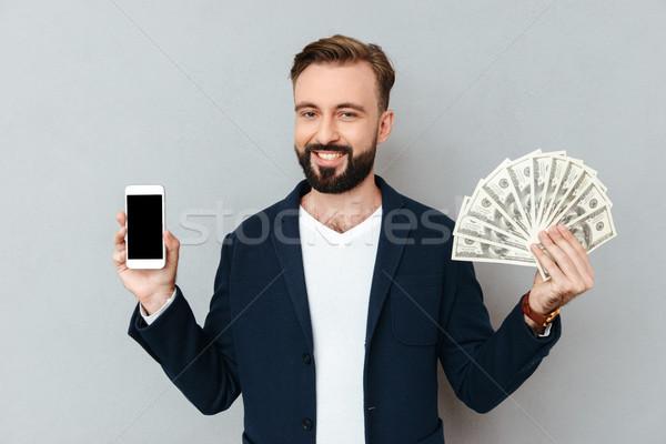 Feliz barbudo homem negócio roupa Foto stock © deandrobot