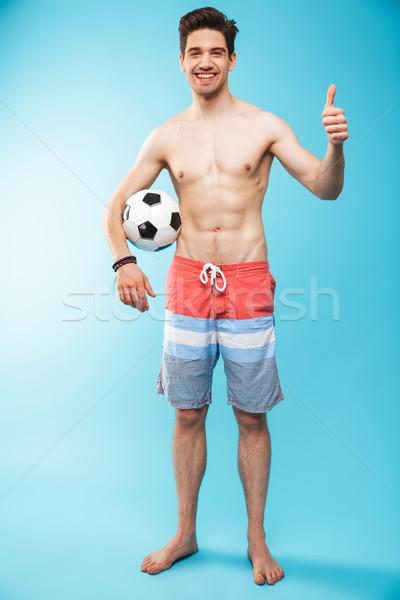 Tam uzunlukta portre gömleksiz adam yüzme Stok fotoğraf © deandrobot