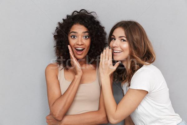 Portrait deux heureux jeunes femmes secrets Photo stock © deandrobot