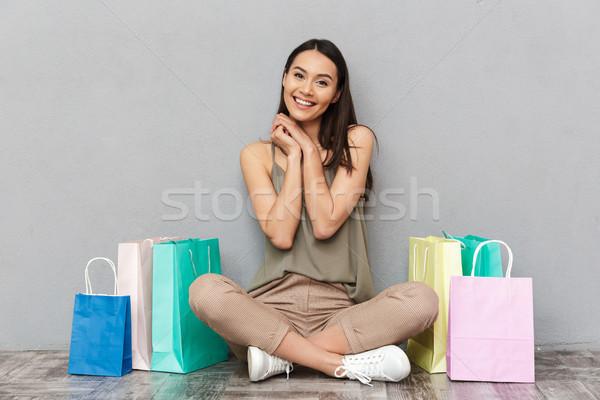 Porträt zufrieden jungen asian Frau Stock foto © deandrobot