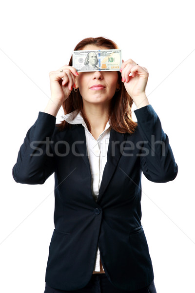 Businesswoman having fun with US dollars isolated on white background Stock photo © deandrobot