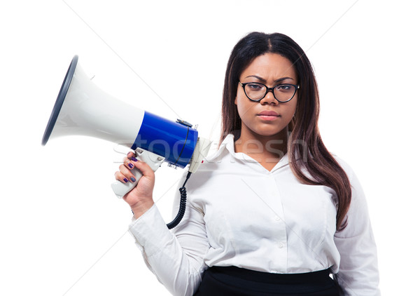 Foto stock: Africano · empresária · em · pé · megafone · isolado · branco