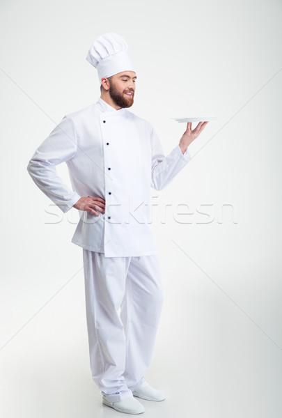 Stock fotó: Boldog · férfi · szakács · szakács · áll · tányér