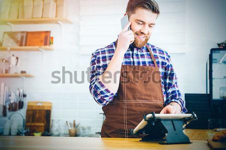 Barista ordre comprimé cafétéria Photo stock © deandrobot