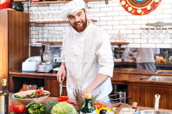 Foto stock: Alegre · jóvenes · chef · cocinar · carne