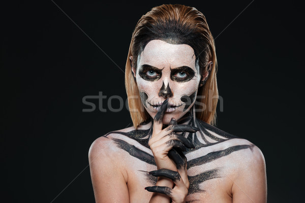 Femme peur halloween maquillage silence Photo stock © deandrobot