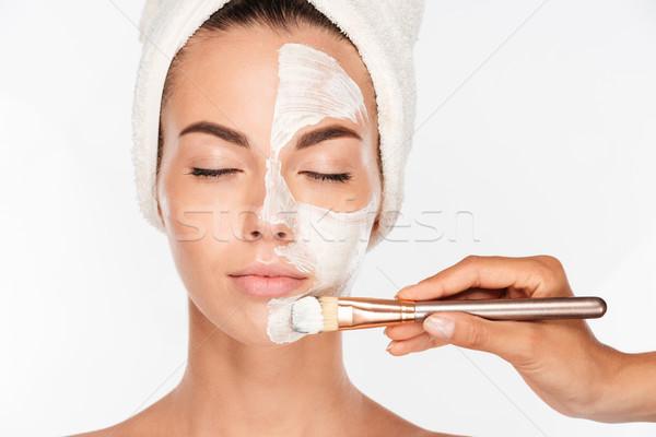 Foto stock: Mujer · belleza · piel · máscara · tratamiento · cara