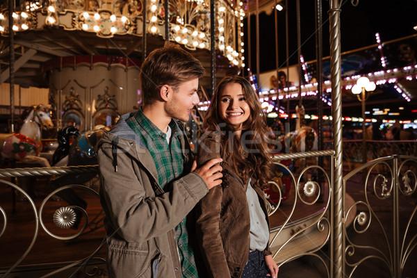 いい カップル 遊園地 笑みを浮かべて 抱擁 女性 ストックフォト © deandrobot