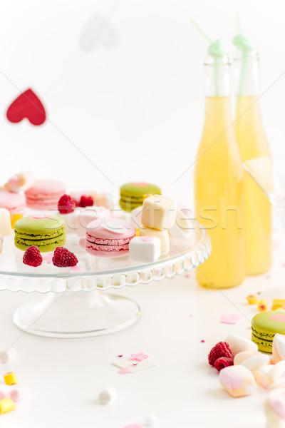 Iki şişeler limonata tablo beyaz düğün Stok fotoğraf © deandrobot