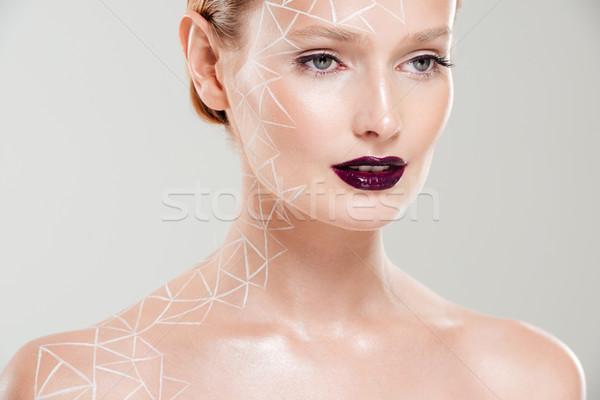 肖像 モデル ボディアート 孤立した ストックフォト © deandrobot
